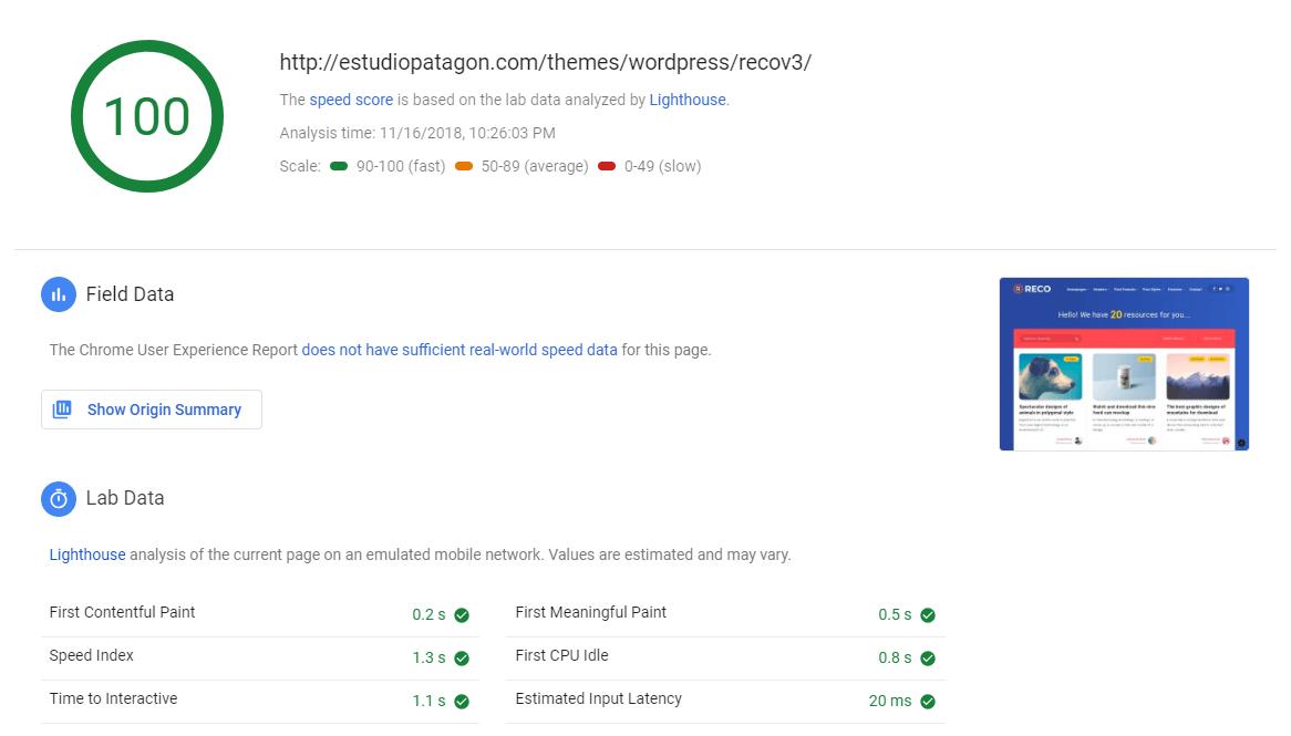 desktop performance test using pagespeed insight