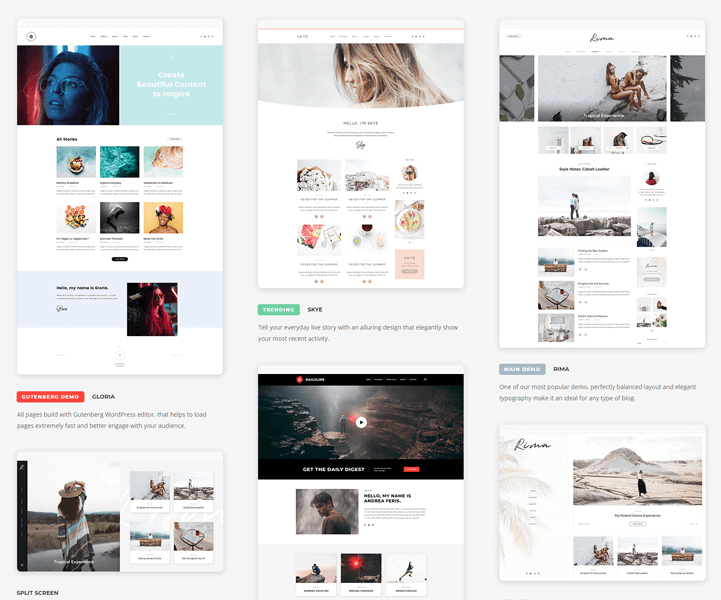 multiple layouts and homepage designs are available in rima