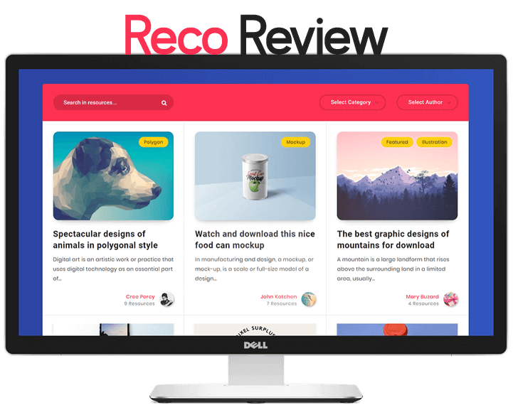 preview of reco wordpress theme in dell monitor