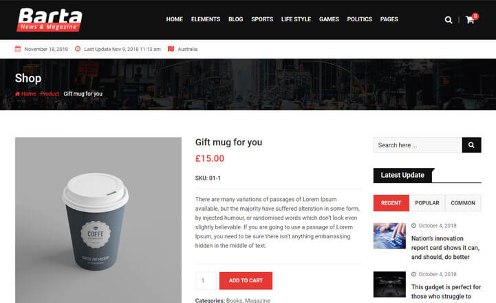 product page of barta template
