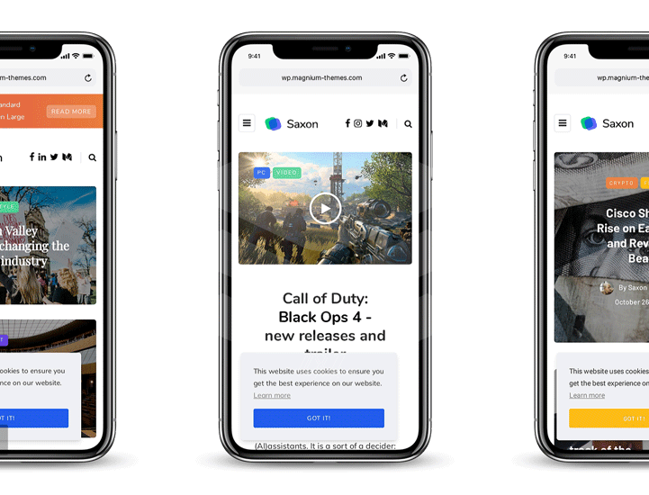 preview of saxon wordpress theme in iPhone X