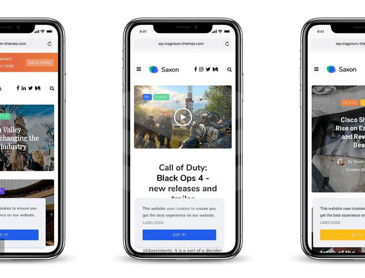 preview of saxon wordpress theme in iPhone X