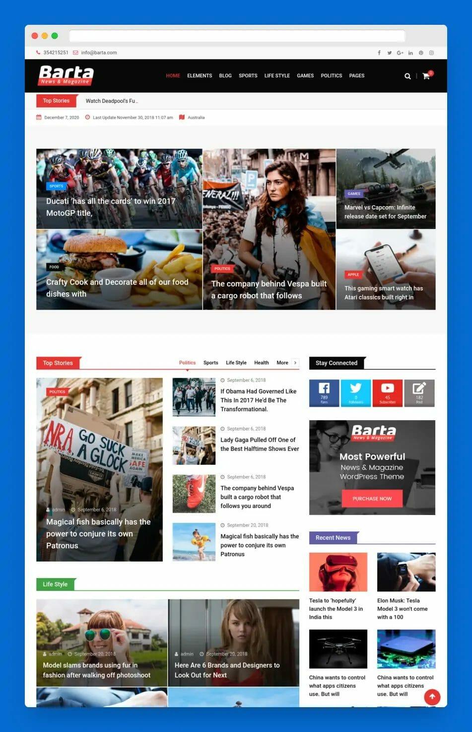 Barta Magazine WordPress Theme